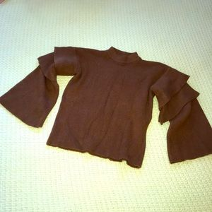 Unbranded Brown Scallop Sleeves Sweater Fits Sz S